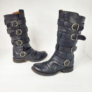Aldo Black Mid Calf Buckle Moto Leather Boots 6